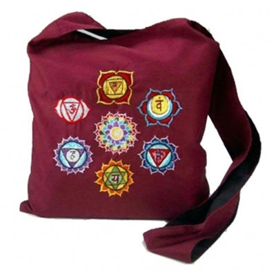 Chakra Embroidery Shoulder Bag - Bordeaux