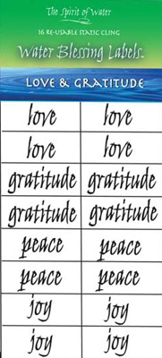 Water Blessing Labels - Love & Gratitude